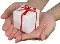 ASPEN NJ Donations - Hands holding a gift box isolated on white background